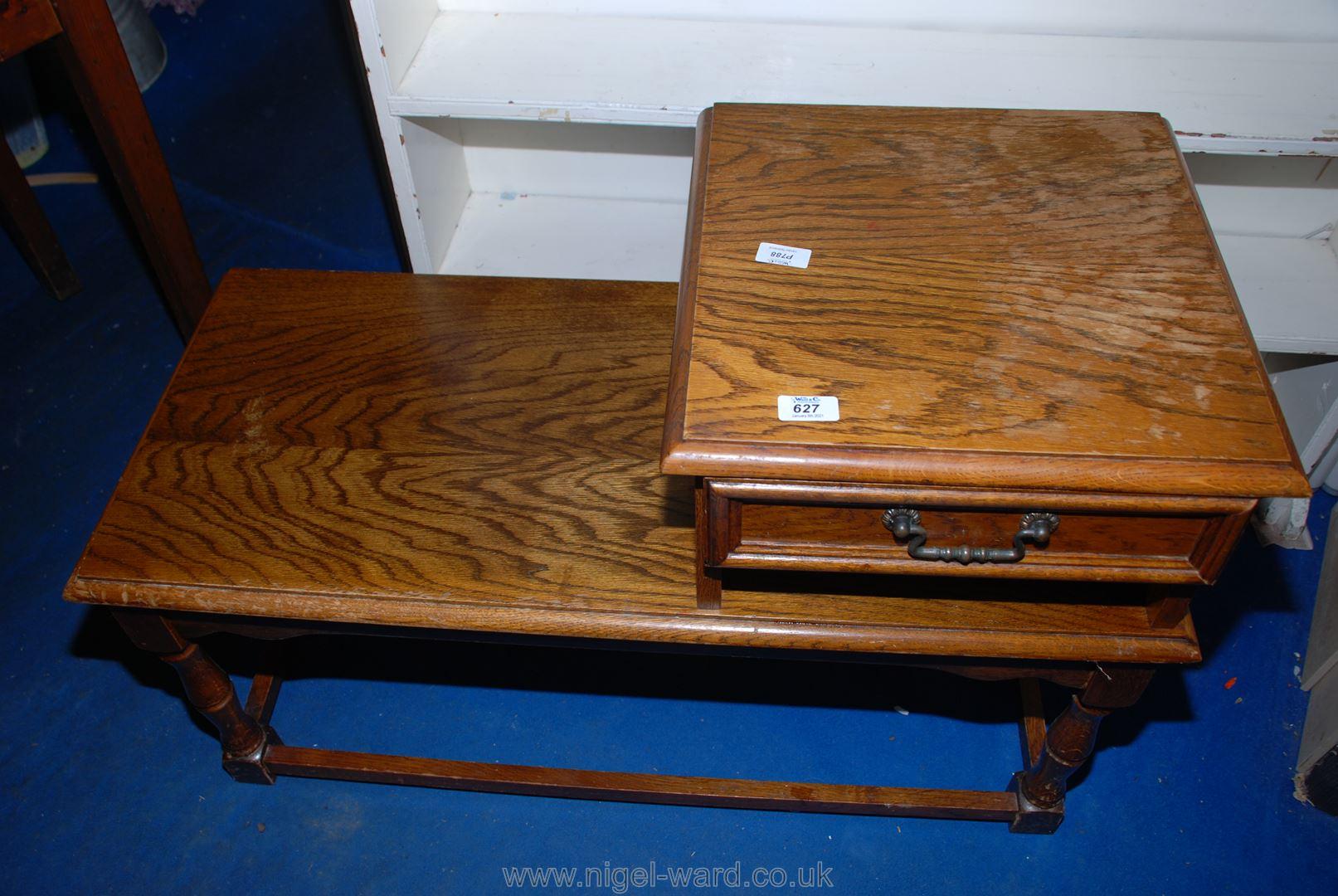 An Oak telephone table.