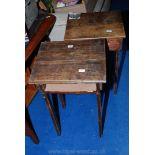 Two Oak, sloping-topped children's desks.