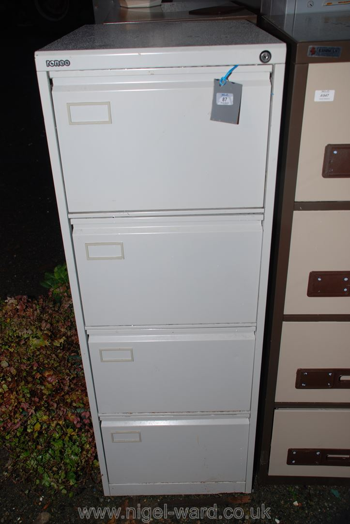 A Roneo grey finished 4 drawer filing cabinet.