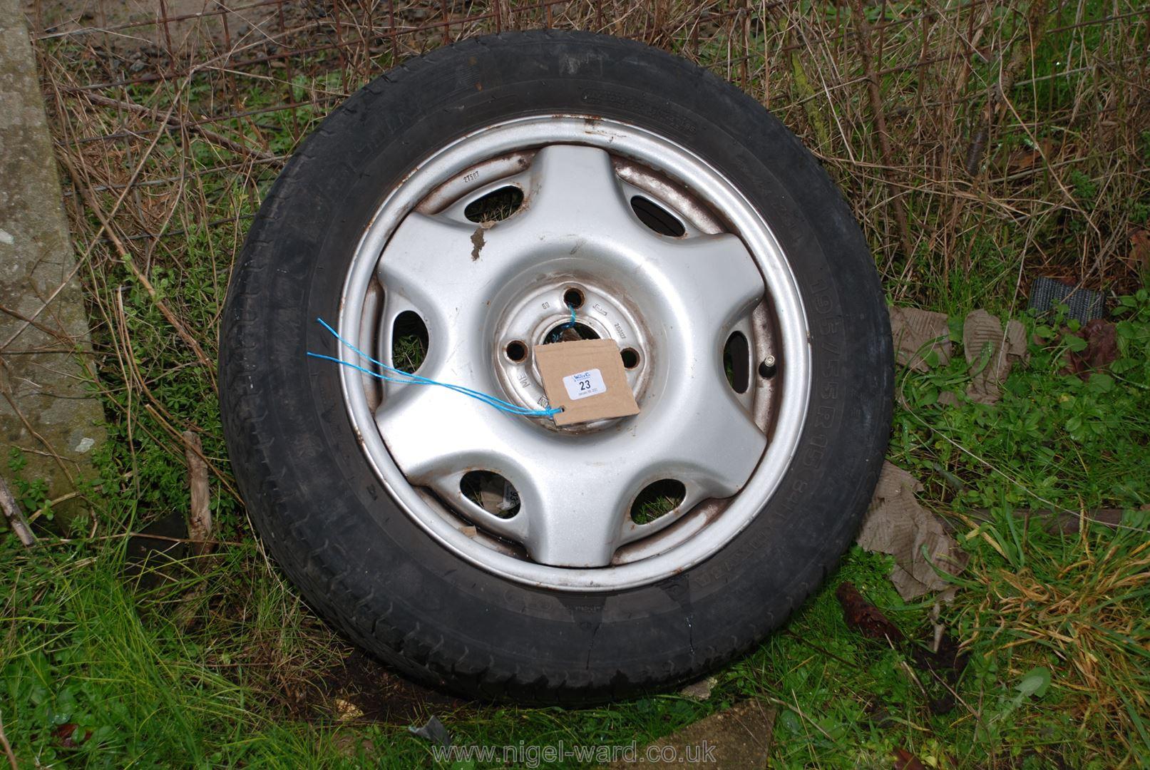 195/55 R15 tyre on a General Motors four stud rim