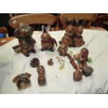 A box of wooden animals, etc.
