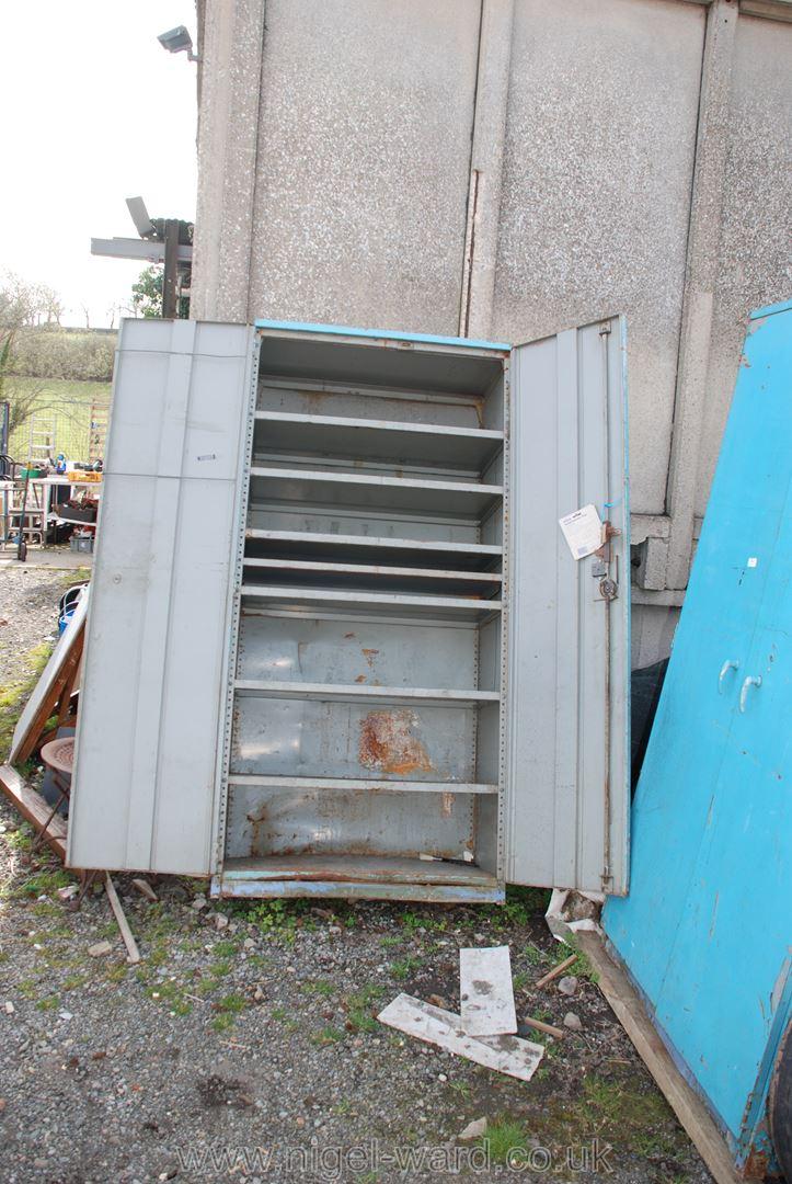Blue finished seven-shelved double-door workshop cupboard, 73'' high x 36'' wide x 20'' deep. - Image 2 of 2