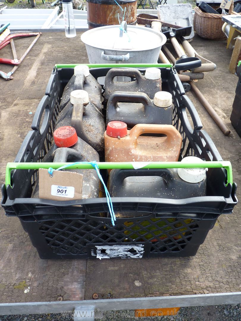 A crate of various containers of creosote