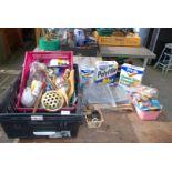 Tray of various plumbing fittings, sandpaper, fillers etc.
