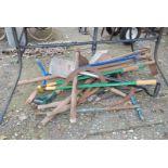 Quantity of garden shears, clippers, hose,