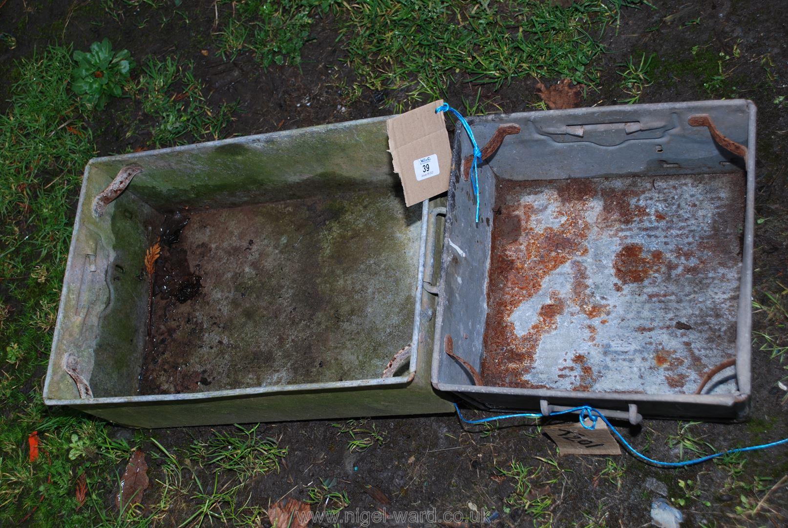 Two galvanised storage trays