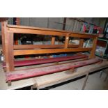 """An altar rail with kneelers apx 86"""" long x 31"""" high x 16""""."""