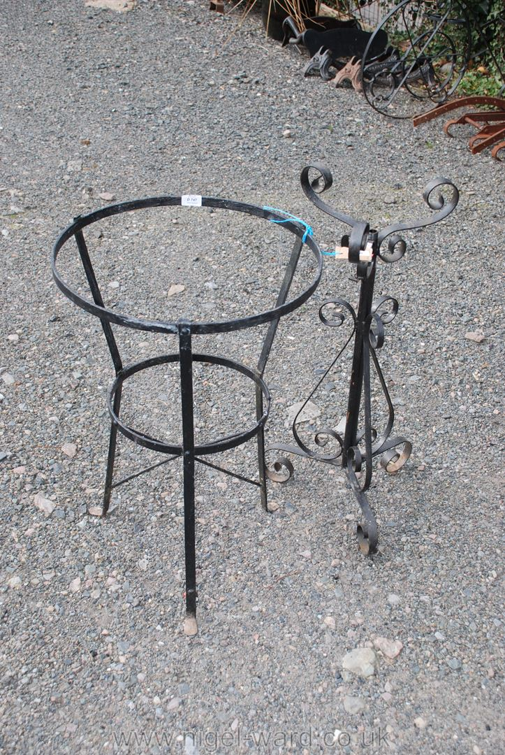 Metal wash stand base and wrought iron plant stand