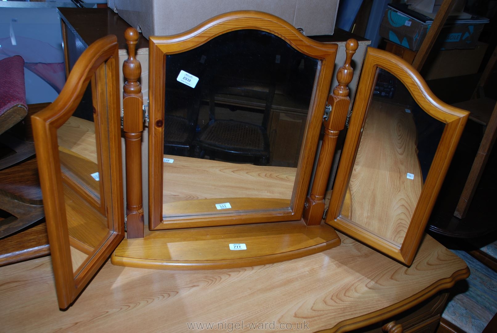 A honey Pine triptych dressing table mirror.