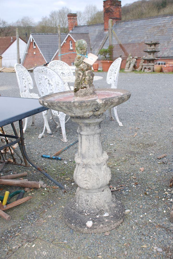 Concrete pillar bird bath, 31'' high x 20'' diameter, a/f and a small statue of a child,
