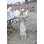 Concrete pillar bird bath, 31'' high x 20'' diameter, a/f and a small statue of a child,