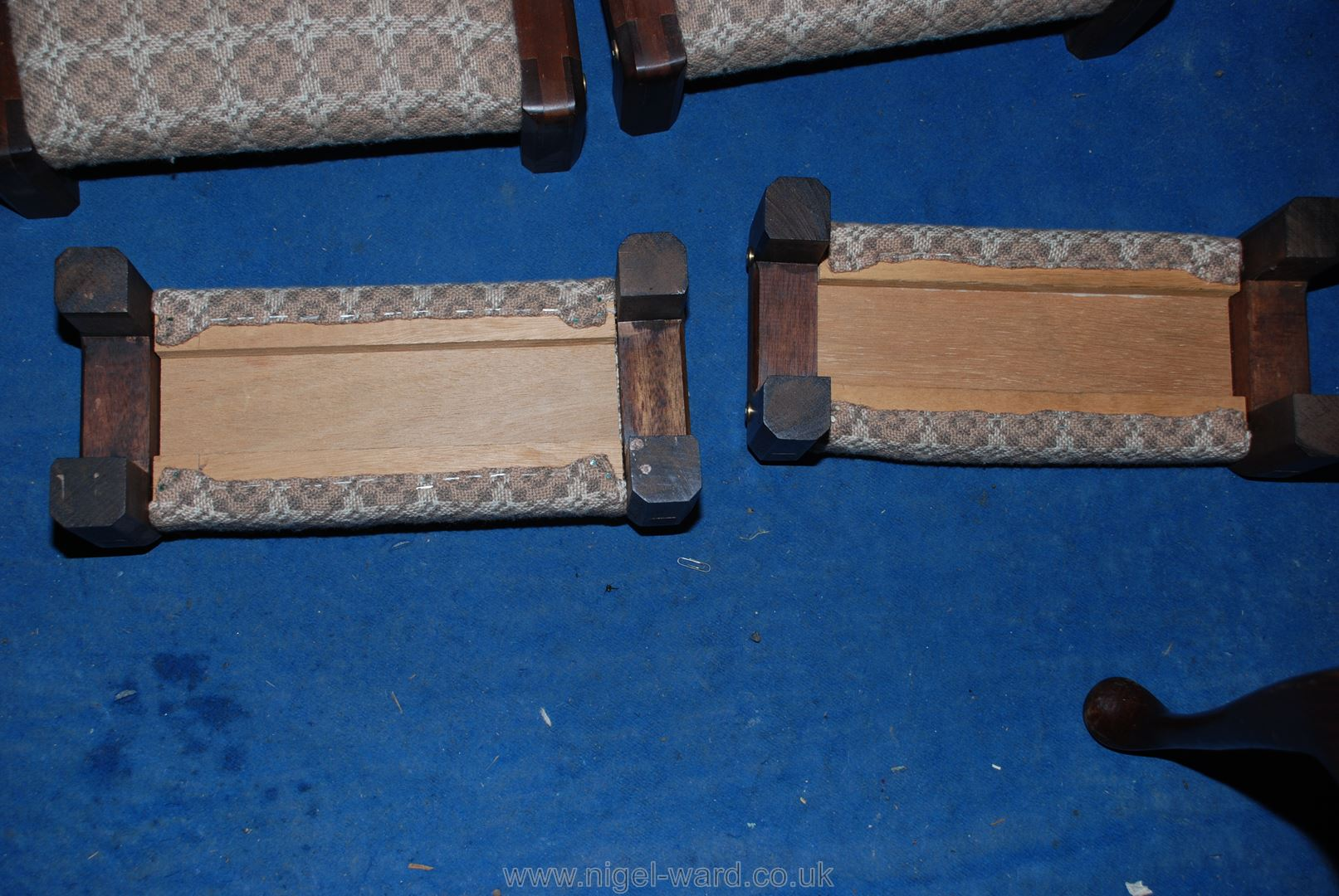 Six specially-commissioned Welsh loom wool upholstered, dark Mahogany framed kneelers/hassocks. - Image 2 of 2