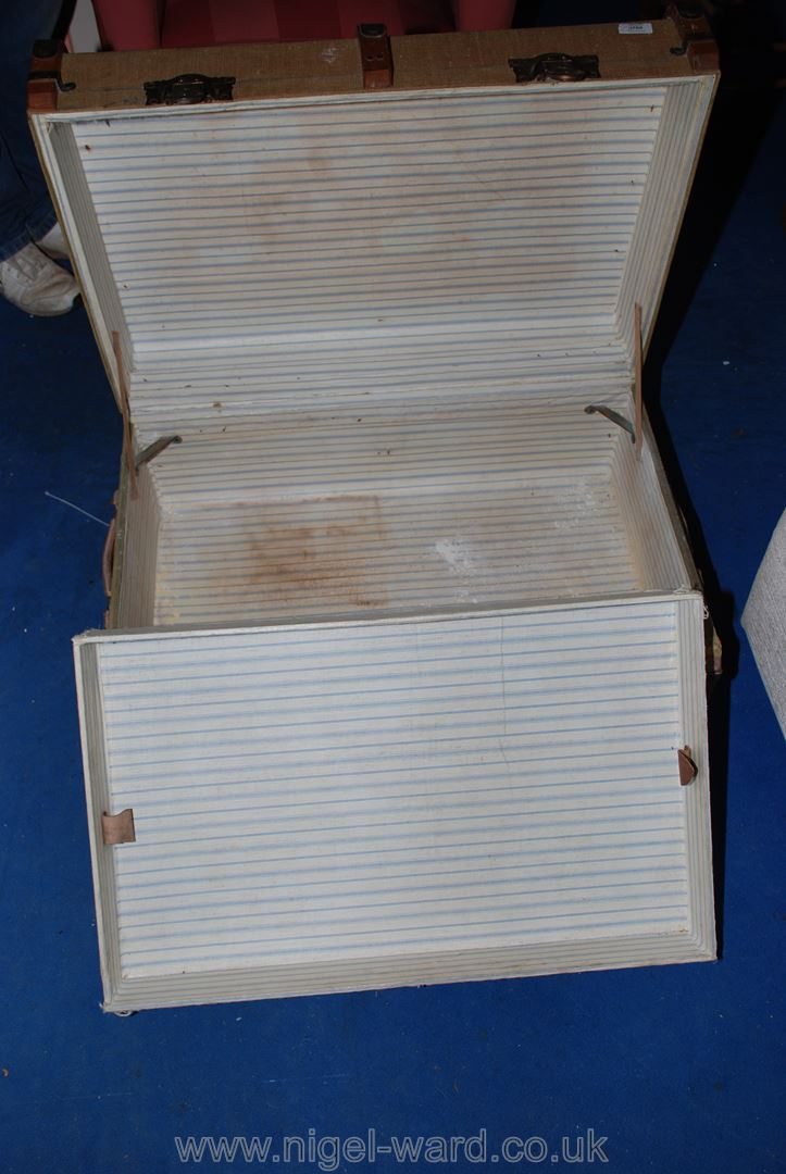 A bent-wood bound travel trunk. - Image 2 of 2