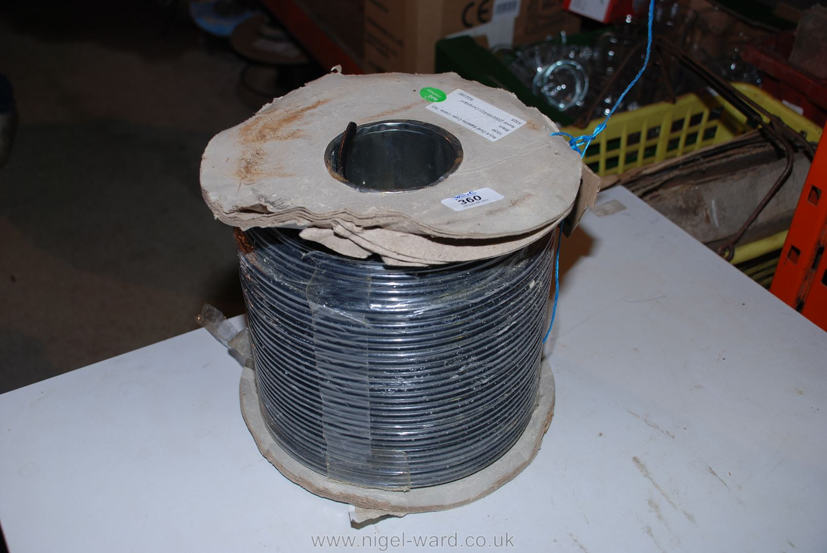 A roll of twin core 75 ohm satellite coaxial cable.