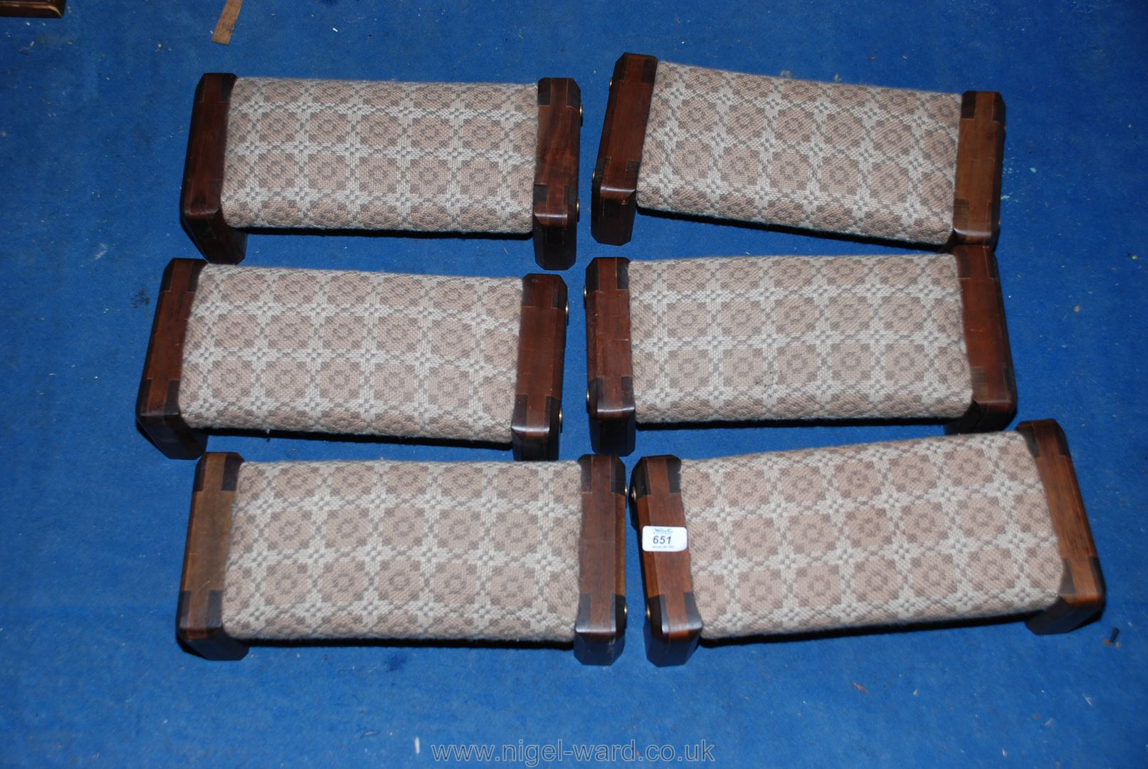 Six specially-commissioned Welsh loom wool upholstered, dark Mahogany framed kneelers/hassocks.