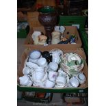 Two boxes of part tea-sets, dishes, jugs, etc.