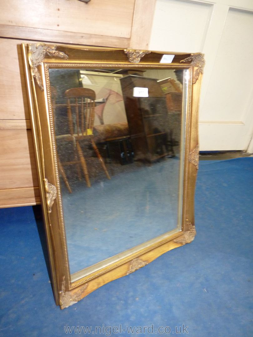 "Gilt framed mirror; approximately 19"" x 23"". Glass needs re-mounting."