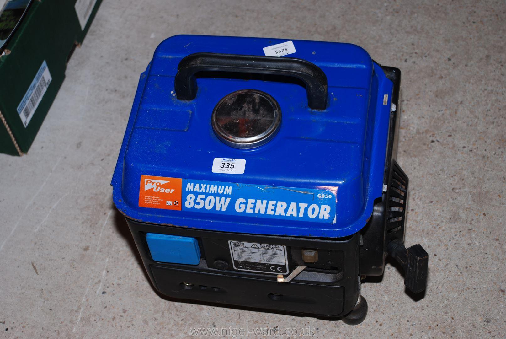 An 850w petrol generator.