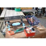 Tray of gardening hand tools etc and a small table top Workmate