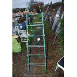 A set of green metal convertible step ladders