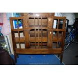 """A pair of Oak bed-ends with metal support brackets present but currently removed, 54"""" wide."""