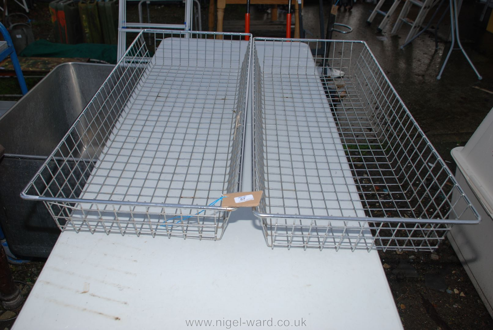 Pair of steel wire trays 45'' long x 18'' wide x 60'' high.