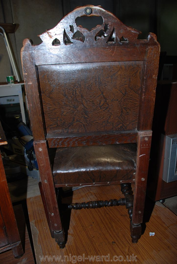 An Oak Barley-twist and turned leg hall chair, (repairs to rear legs). - Image 2 of 2