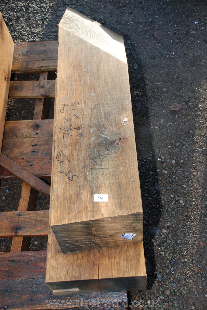 Two pieces of Oak timber 7 1/2'' x 9 1/2'' and 6 1/2'' x 11 1/2''.