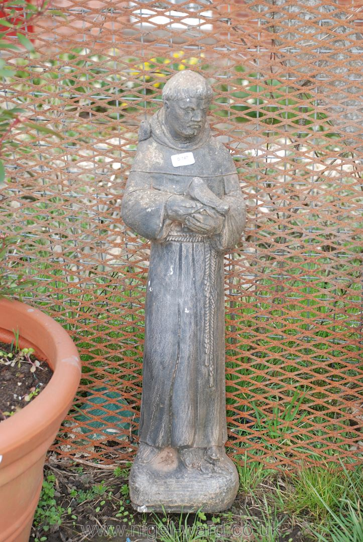 Concrete statue of St. Francis of Assisi, 30'' high.