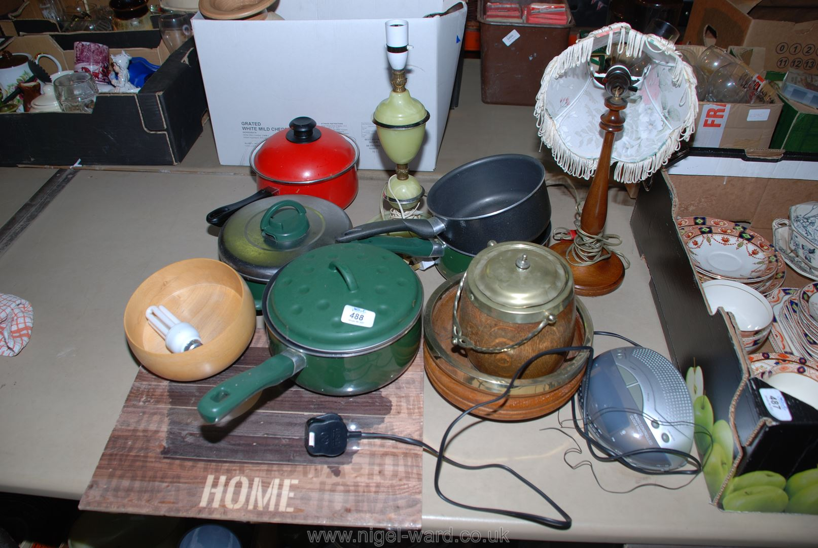 A box of saucepans, table lamps, a radio and treen.