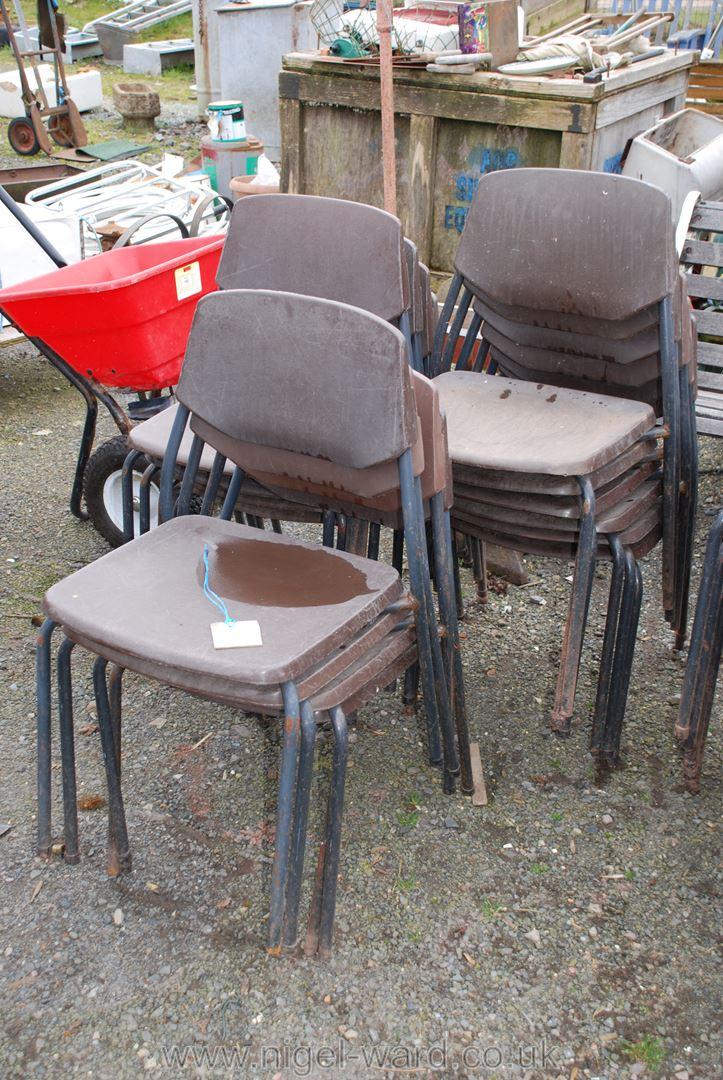 14 plastic children's stacking chairs