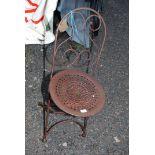A metal garden chair.