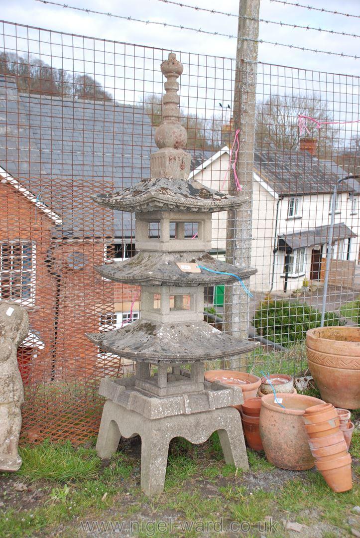 Concrete three-tier pagoda, 64'' high, a/f to finial.