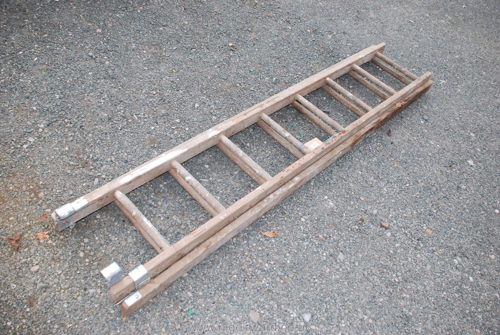 A pair of eight rung extending ladders.