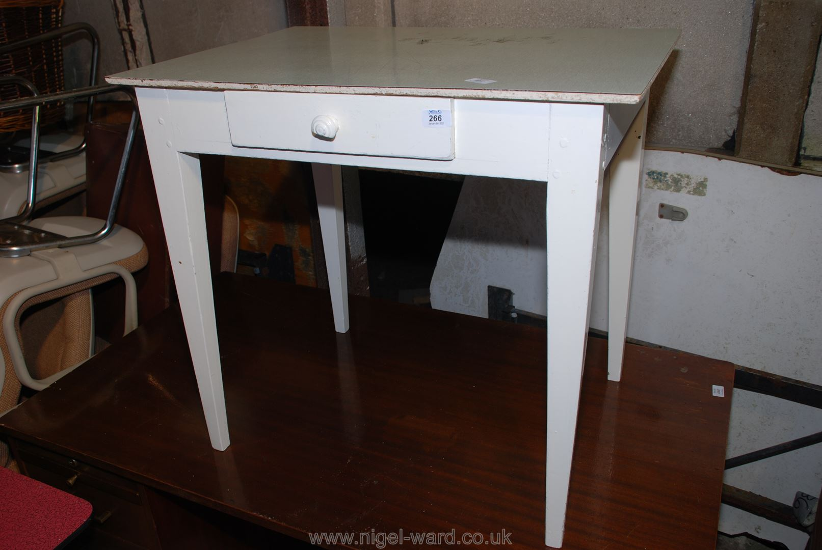 A painted wooden kitchen table with drawer, 30'' x 21'' x 27'' high.