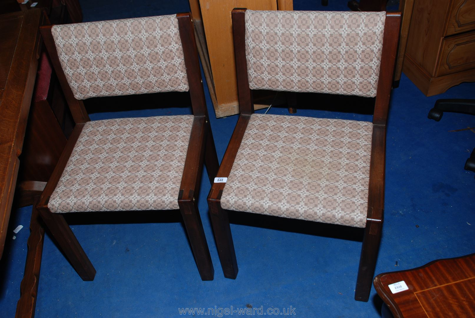 Six specially-commissioned Welsh loom wool upholstered, dark Mahogany framed chapel chairs,
