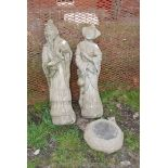 Pair of concrete garden statues of oriental gentleman and lady with associated base, 32'' high.