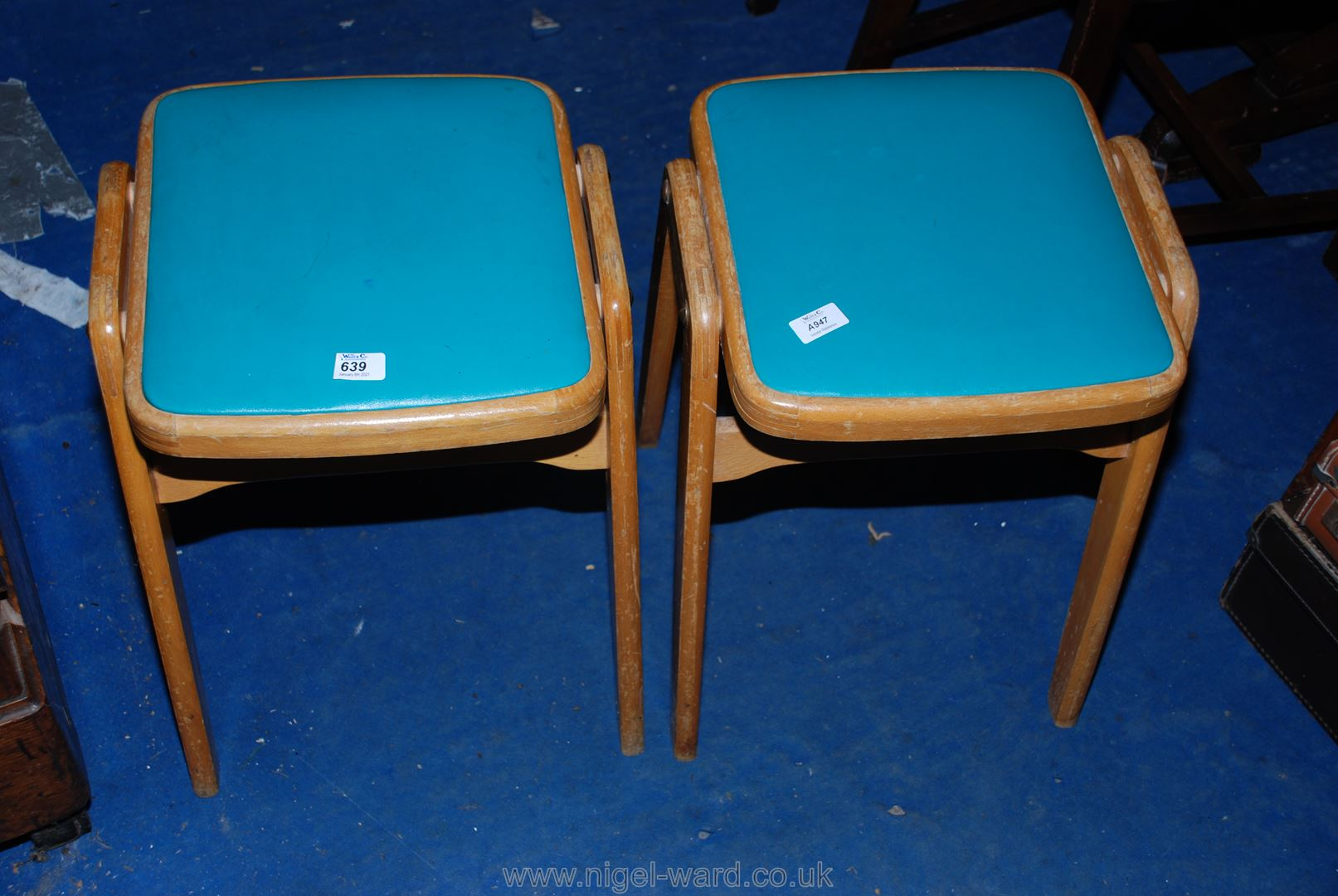 """A pair of 1960's kitchen stools 18""""."""