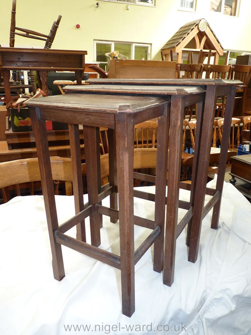 "Nest of three stacking tables, largest table 11 1/2"" x 18"" x 21"" high."