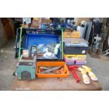 Tray of storage boxes, bird cage, files,