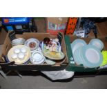 Two boxes of china, dinner plates, bowls, ornaments, etc.