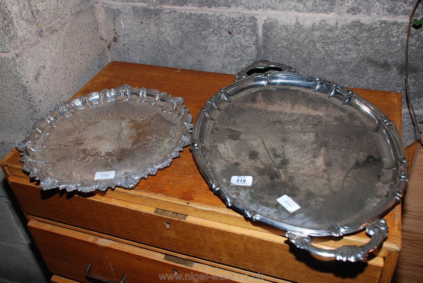 Two plated serving trays.