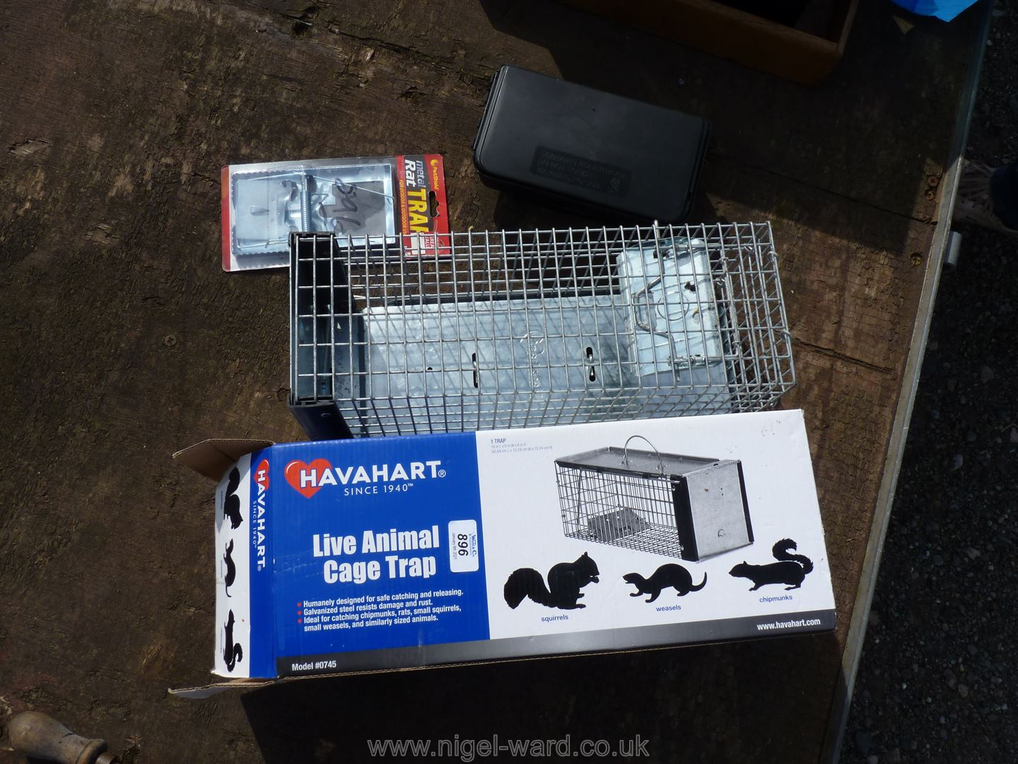 A new Squirrel/rat trap, bait station and a Nipper trap.
