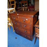"""A Mahogany chest of three long and two short drawers, 40"""" x 17"""" x 44"""" high."""