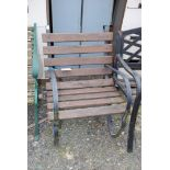 Single metal framed and timber garden bench
