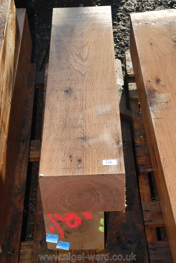 Two pieces of Oak timber 9'' x 6'' and 37'' and 41'' long