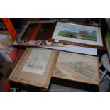 A modern mirror, print/golf and watercolours.