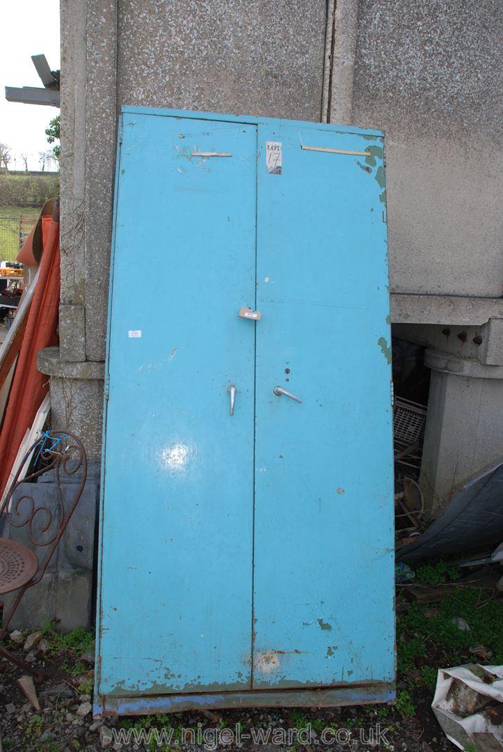Blue finished seven-shelved double-door workshop cupboard, 73'' high x 36'' wide x 20'' deep.