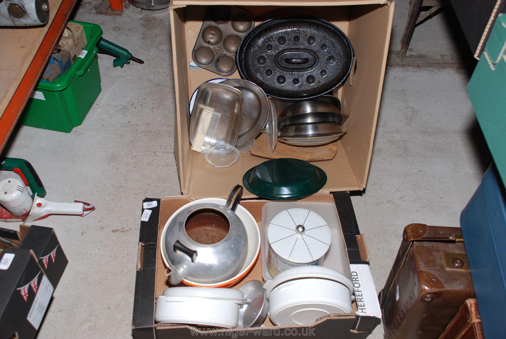 Two boxes of various kitchen pans, baking trays, etc.