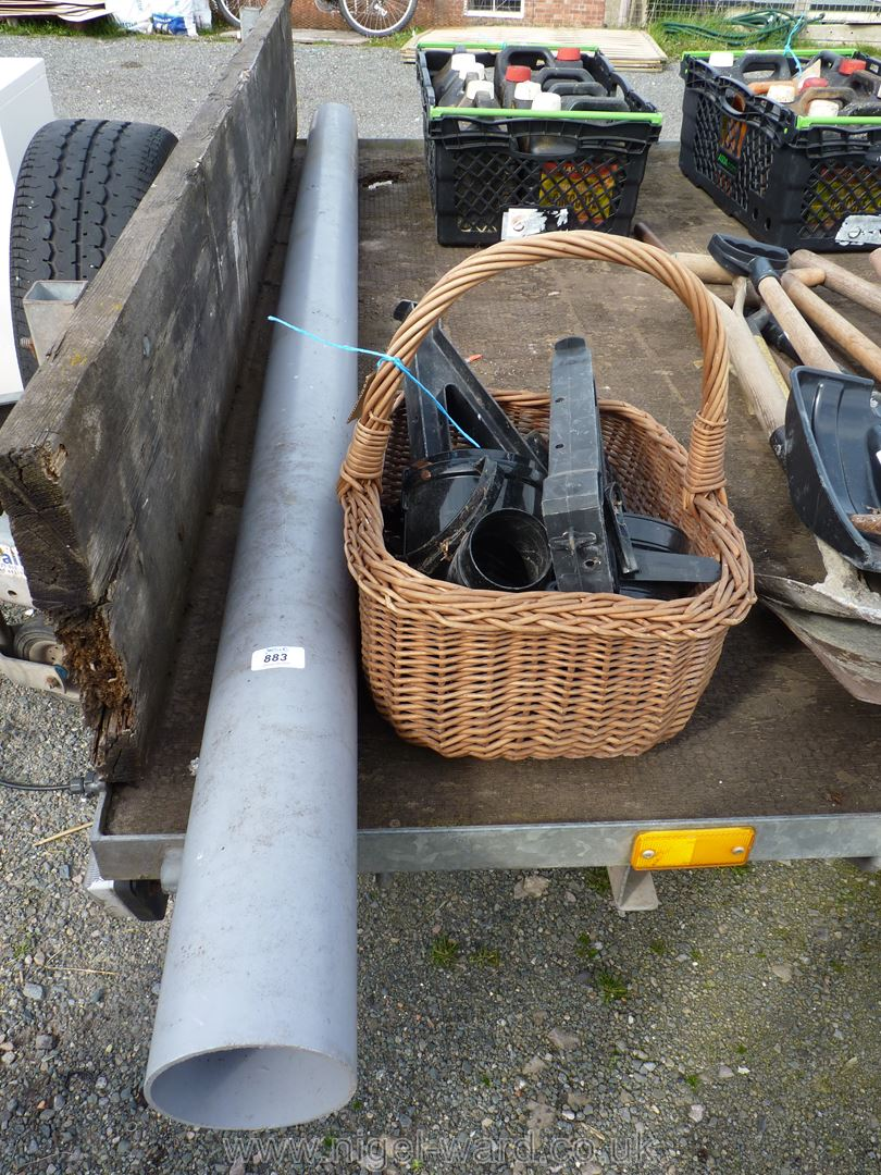 Section of 4'' soil pipe and a wicker basket of gutter fittings etc